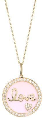 Sydney Evan 14K Yellow Gold, Diamond Pave & Pink Enamel Love Medallion Necklace