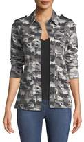 L'Agence Cromwell Button-Front Camo-Print Military Jacket