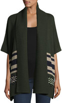 Autumn Cashmere Aztec-Print Open-Front Cardigan, Cypress Combo