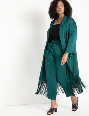 ELOQUII Satin Duster with Fringe Detail