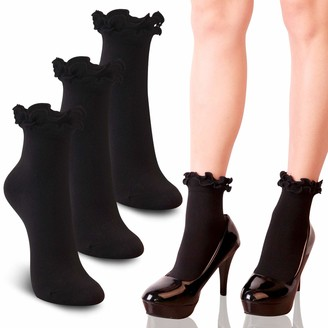 Youneedthat Women's Double Ruffle Frilly Ankle Crew Socks Cotton Lettuce Lace Trim Big Girls (Pack of 3/5) - black - Shoe 4-7 UK