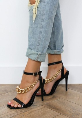 Missguided Black Chunky Chain Heeled Sandals