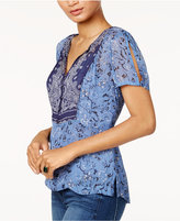 Lucky Brand Printed Sheer-Back Top