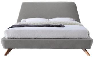 Omax Decor Henry Mid-Century Modern Upholstered Platform Bed, Light Gray, Queen