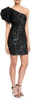 Jovani Sequin Puff One-Shoulder Short Cocktail Dress