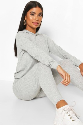 boohoo Petite Knitted Soft Rib Hoody And Legging Two-Piece