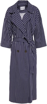 American Vintage Oversized Tie-front Striped Cotton-blend Trench Coat