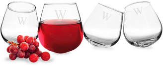 Cathy's Concepts Cathys Concepts Set Of 4 Monogrammed Tipsy Wine Glasses