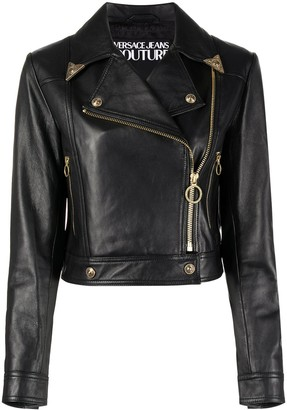 Versace Jeans Couture Cropped Leather Jacket