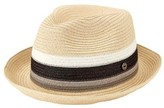 San Diego Hat Company Men's Paperbraid Pork Pie Homburg with Inset SDH3020