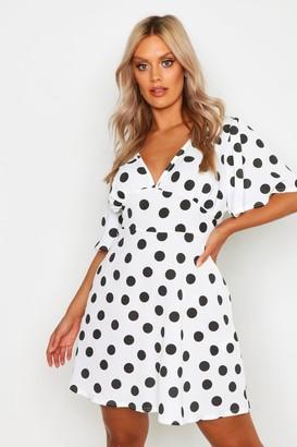 boohoo Plus Polka Dot Woven Angel Sleeve Smock Dress
