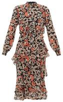 Saloni Isa Tiered Starfruit-print Silk Midi Dress - Womens - Black Multi