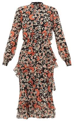 Saloni Isa Tiered Starfruit-print Silk Midi Dress - Black Multi