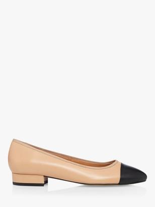 Dune Highgate Leather Toe Cap Court Shoes, Camel