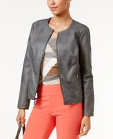 Alfani Faux-Leather Quilted-Trim Jacket, Only at Macy's