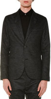 Lanvin Tonal-Check Two-Button Wool Jacket, Charcoal