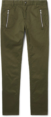 Balmain Skinny-Fit Logo-Flocked Cotton-Blend Twill Chinos