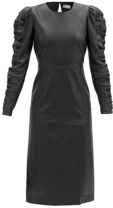 RED Valentino Ruffled-sleeve Leather Dress - Black