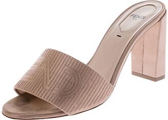 Fendi Beige Satin Logo Embroidered Block Heel Slides Size 38