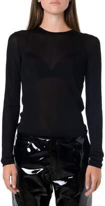 Saint Laurent Black Ribbed Knit Sheer Top