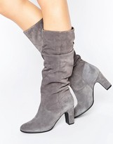 Oasis Suede Gathered Knee Heeled Boot