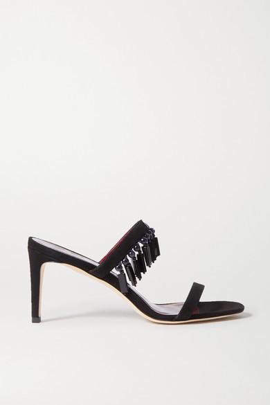 STAUD Raoule Bead-embellished Suede Mules - Black