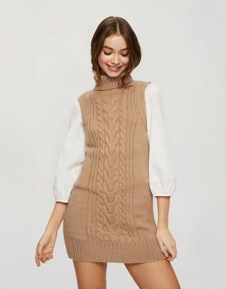 Miss Selfridge mini dress in tan