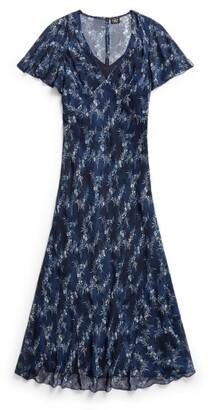 Double RL Ralph Lauren Floral Crinkled Silk Chiffon Dress
