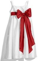 Us Angels Toddler Girl's White Sleeveless Empire Waist Taffeta Dress