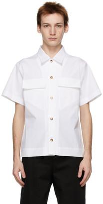Bottega Veneta White Poplin Military Short Sleeve Shirt