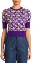 Miu Miu Wool Floral Cropped Pullover