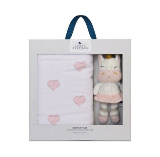 Living Textiles Baby Bento Giftset 3ply Muslin Blanket and Knitted Plush Toy Kenzie