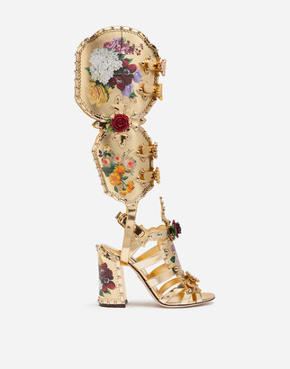 Dolce & Gabbana Nappa Mordore Gladiator Sandals With Studs And Painted Flower Detailing