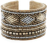 Nakamol Wide Mixed Seed Bead Cuff Bracelet