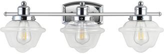 Jonathan Y Designs Orleans 26.25In 3-Light Iron/Glass Schoolhouse Led Vanity Light