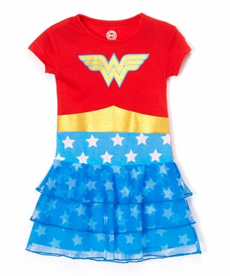 Intimo Girls' Nightgowns PR801 - Wonder Woman Red & Blue Ruffle Nightgown - Girls