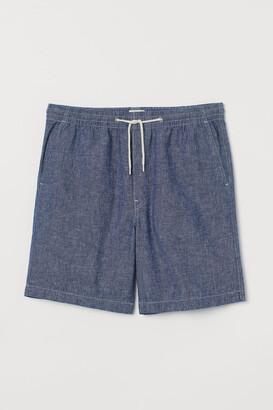 H&M Linen-blend Shorts - Blue