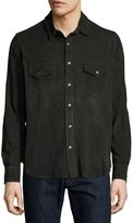 Billy Reid Suede Work Shirt, Charcoal