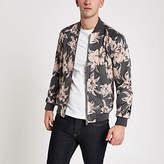 Mens Grey floral faux suede bomber jacket