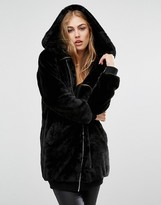 Missguided Hooded Longline Faux Fur Bomber