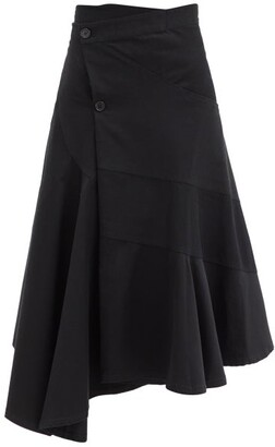 J.W.Anderson Asymmetric-hem Cotton-twill Wrap Skirt - Black