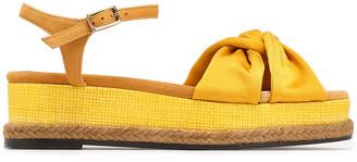 Castaner Twisted Satin And Suede Platform Sandals