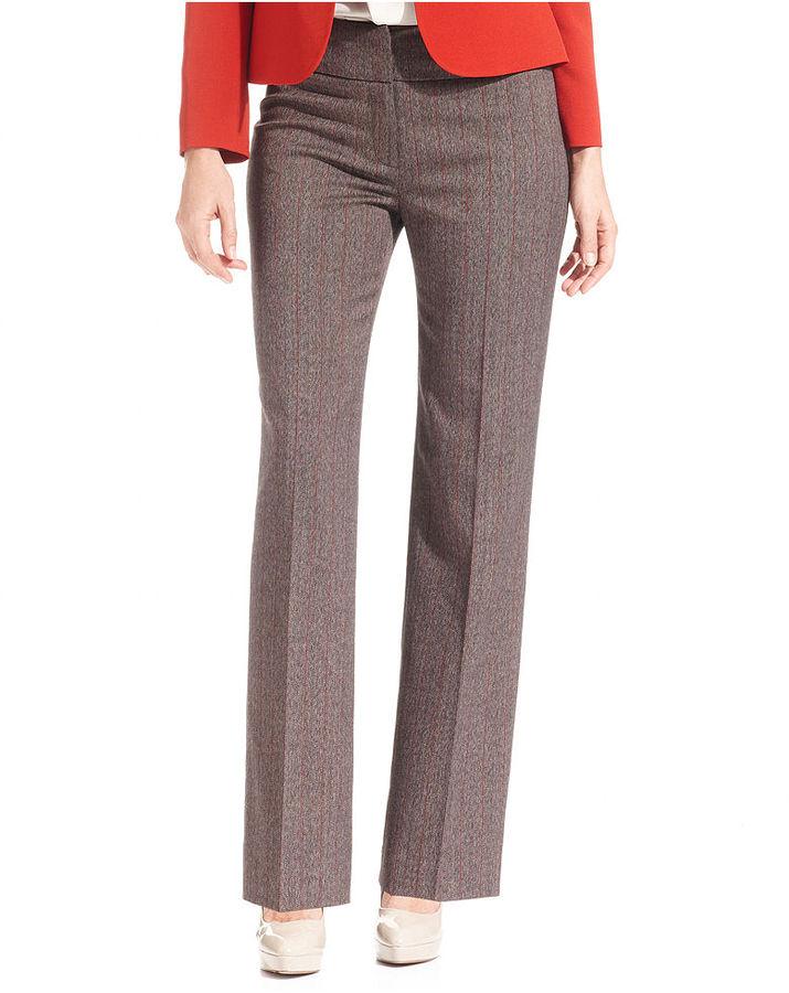 Kasper Petite Pants, Kate Tweed Straight-Leg Pinstriped