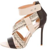 Badgley Mischka Leather Crossover Sandals