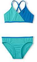 Lands' End Girls Slim Smart Swim Colorblock Bikini-Capri Aqua