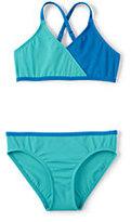 Lands' End Little Girls Smart Swim Colorblock Bikini-Capri Aqua