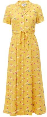 HVN Long Maria Seagull-print Silk Dress - Womens - Yellow