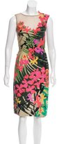 Alberta Ferretti Tropical Print Sheath Dress