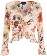 Topshop Star & Floral Print Ruched Blouse
