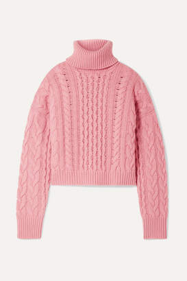 Alanui Cashmere And Wool-blend Cable-knit Turtleneck Sweater - Pink